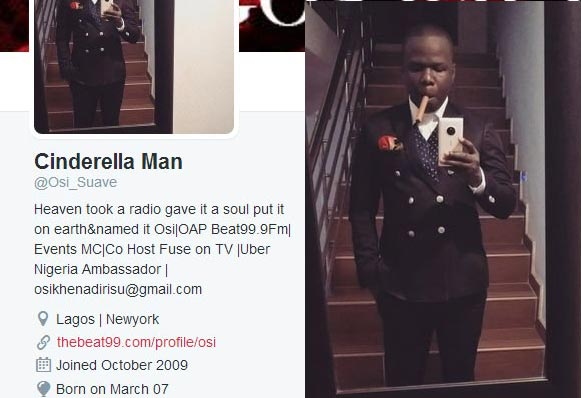 Osi Suave's account gets unverified on Twitter