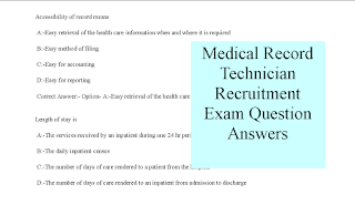 Medical Record Technician Recruitment Exam Question Answers