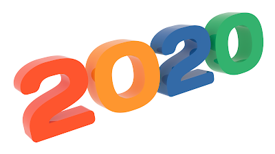 2020 New Year Word, Title 3D Text Congratulation with Days Font and Tetrad Colors 1600x900 pixels