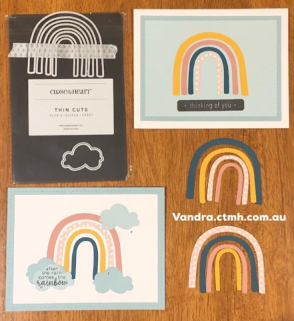 #CTMHVandra, Colour dare,  Colour Dare Challenge, Rainbow, thin cuts, clouds, mix-in paper packet, cardstock, thinking of you, cardmaking, crazy 8, masking, stamping