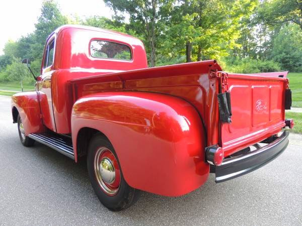 1950 ford f1 red on red show quality auto restorationice. Black Bedroom Furniture Sets. Home Design Ideas