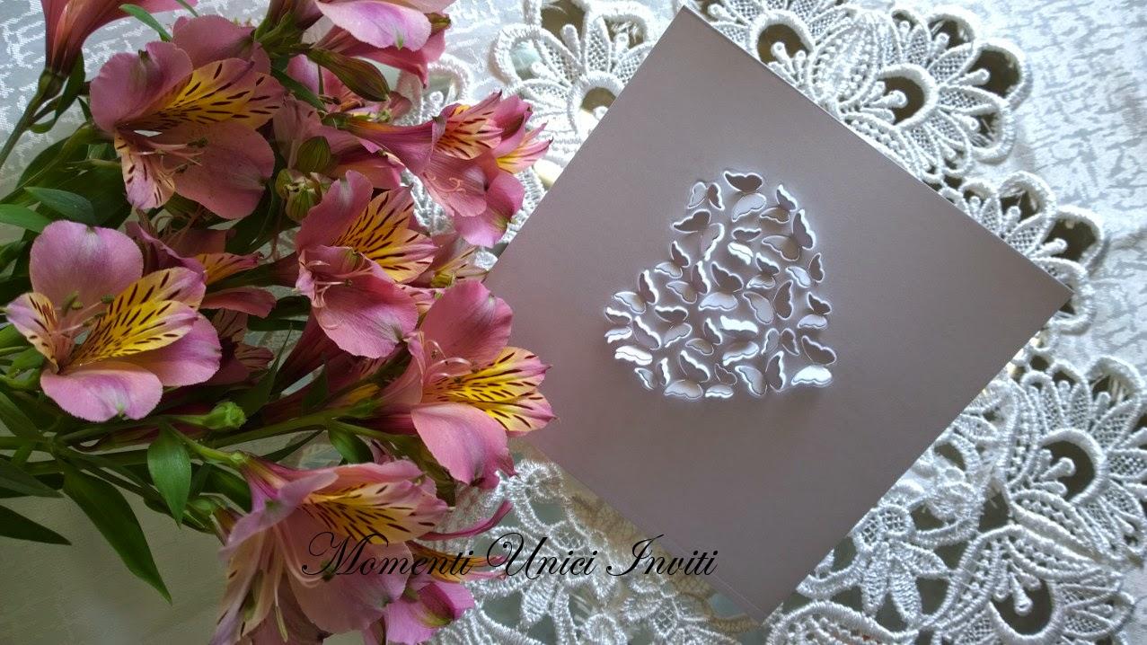 1 Partecipazione mod. Cuore di farfalleTema cuori Tema Farfalle Total White