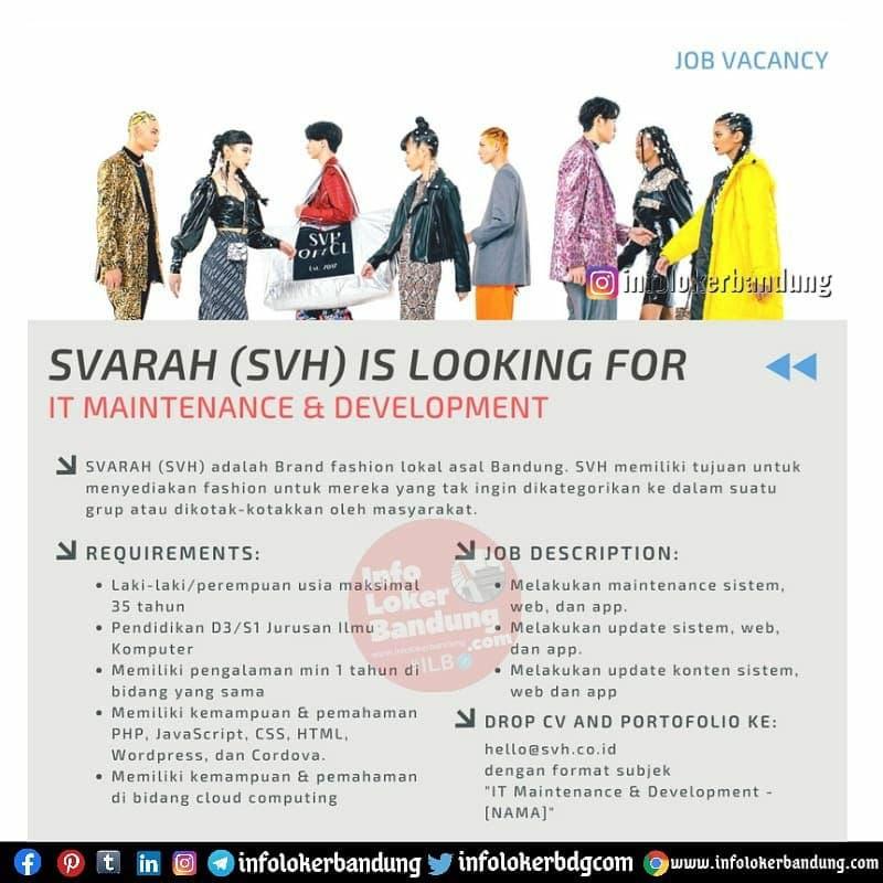 Lowongan Kerja IT Maintenance & Development Svarah ( SVH ) Bandung Juni 2021