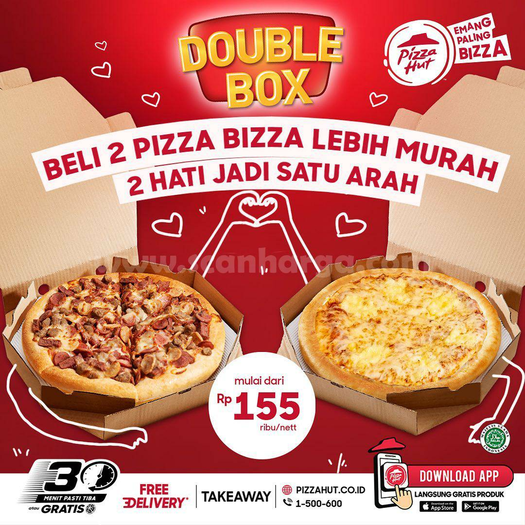PIZZA HUT Promo Double Box - Beli 2 Pizza mulai Rp. 155RB Nett*