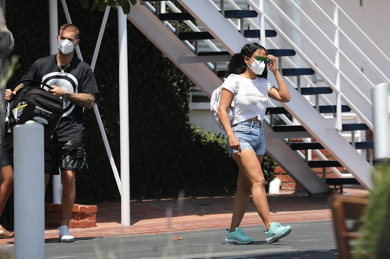 Christina Milian Clicked in Denim Shorts Leaves Mauro's Cafe in West Hollywood 22 Jun -2020