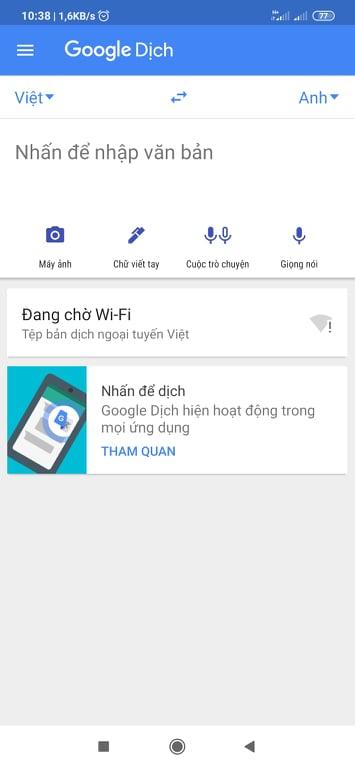 Tải Google Dịch - Ứng dụng dịch văn bản, nói tiếng Anh sang Việt miễn phí c