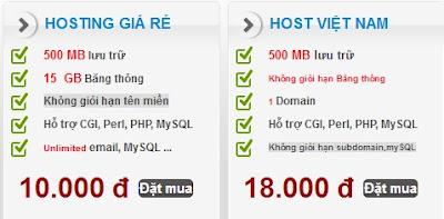 Hosting giá rẻ chỉ 10.000 vnđ