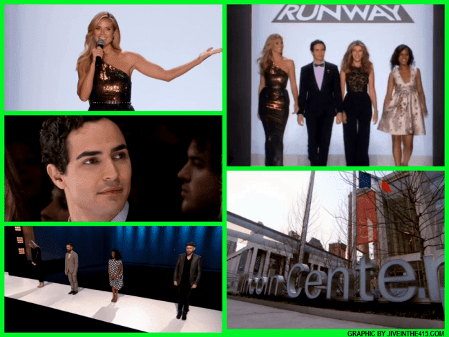 Lifetime's Project Runway Season 12 judges Heidi Klum, Zac Posen, Nina Garcia, and guest judge Kerry Washington.