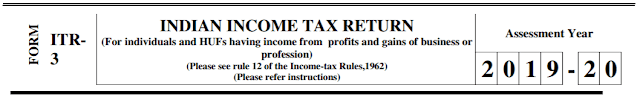 ITR-3 Form for AY 2019-20 (FY 2018-19)