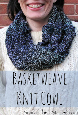 Basketweave cowl free knit pattern