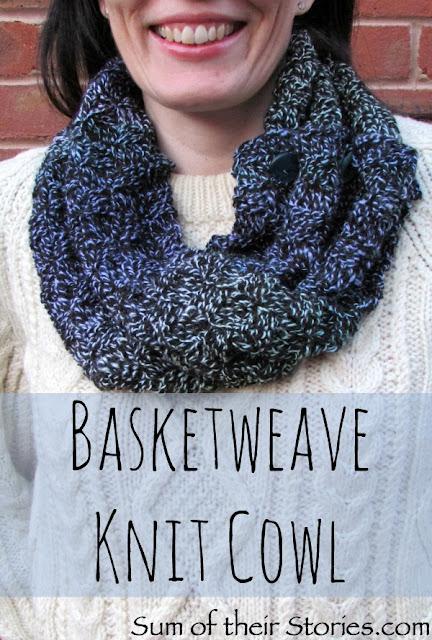 Basketweave cowl free knit pattern