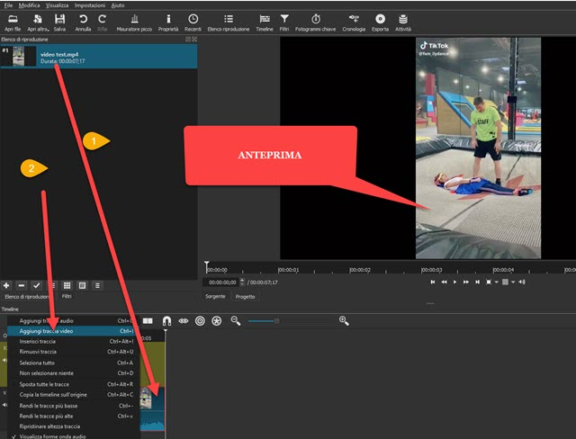 video verticale aggiunto a shotcut