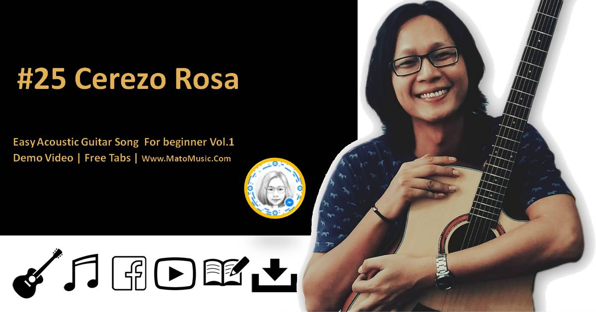 Cerezo Rosa Acoustic Guitar Tabs For Beginner   Video   Tabs by Mato Music