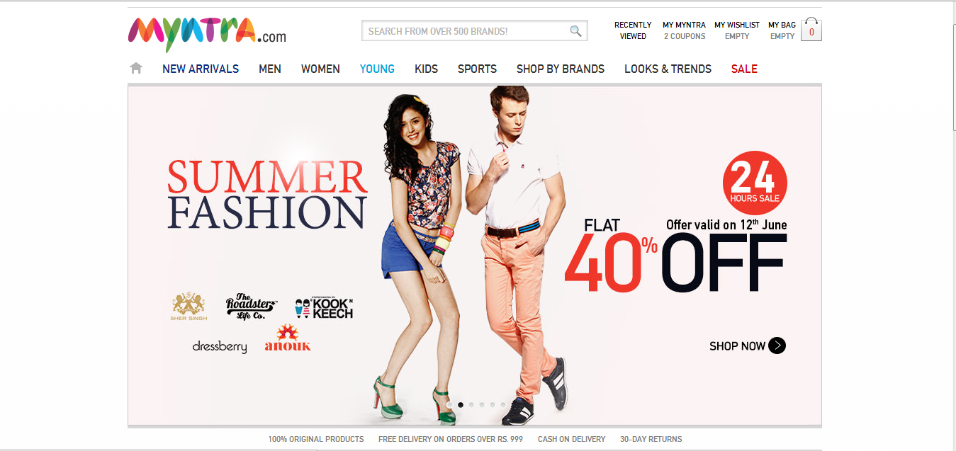 Myntra Online Fashion Store in India