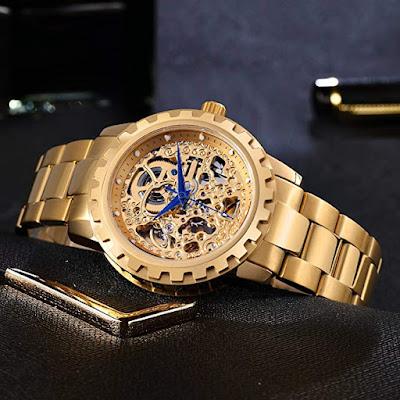 18K Gold-Plated Watch Luxury Skeleton Automatic Waterproof Watch