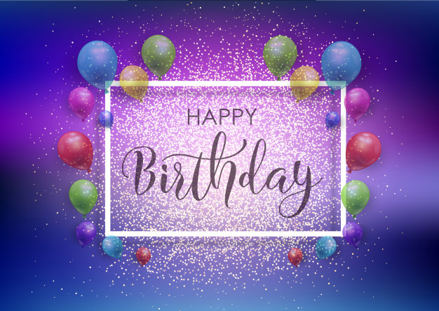 Happy Birthday background with balloons and glitter Free Vector