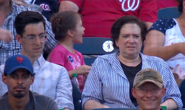 Supreme Court Justice Elena Kagan attends Washington Nationals game