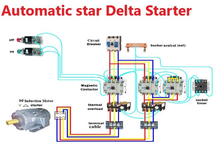 Star Delta Starter Y Δ Power, Star Delta Starter Wiring Diagram 3 Phase With Timer