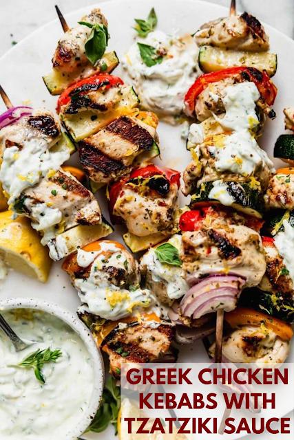 Greek Chicken Kebabs with Tzatziki Sauce