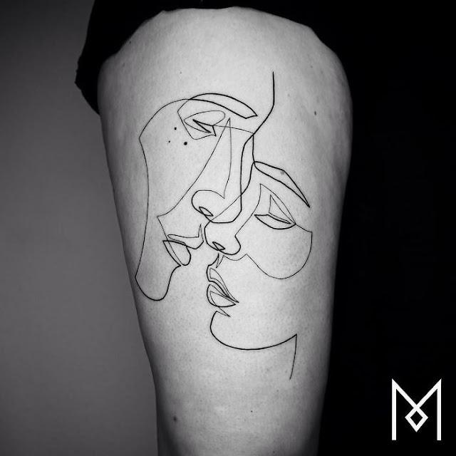 Geniales tatuajes creados usando una linea continua Mo Ganji