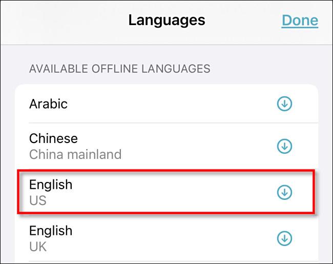 """انقر على لغة في قسم """"اللغات المتوفرة بلا اتصال""""."""