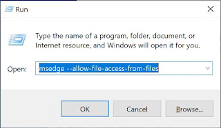 Run dialog box opening Edge to allow file access from files
