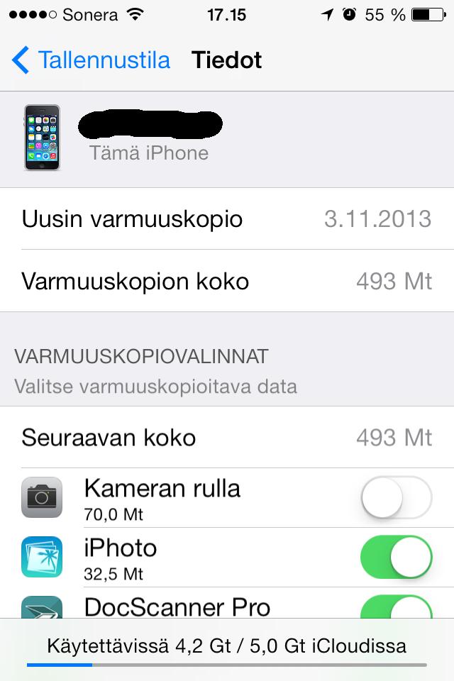 tallennustila täynnä iphone
