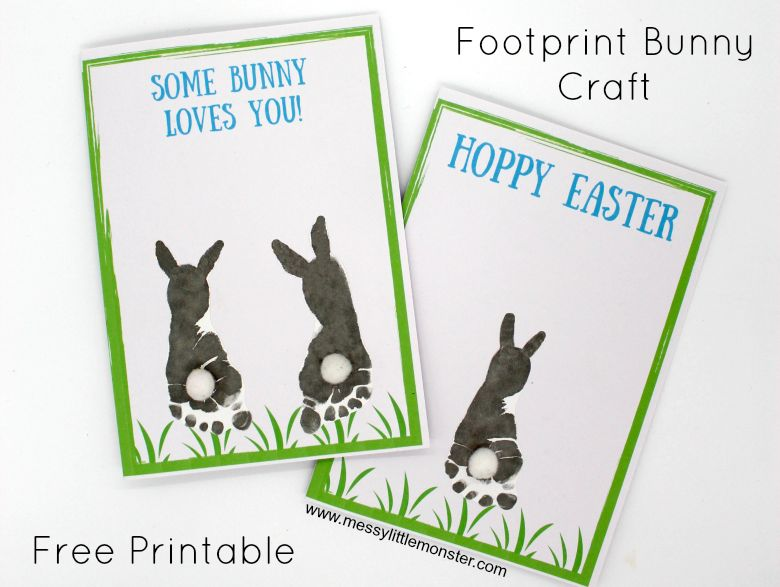 Easter crafts for toddlers - footprint bunny craft