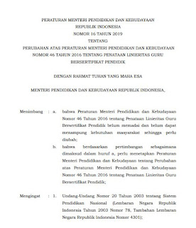 Download Permendikbud Nomor 16 Tahun 2019 tentang Linieritas Guru Bersertifikat