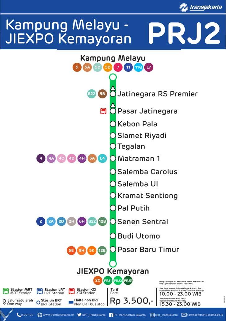 peta rute transjakarta kampung melayu - jiexpo kemayoran