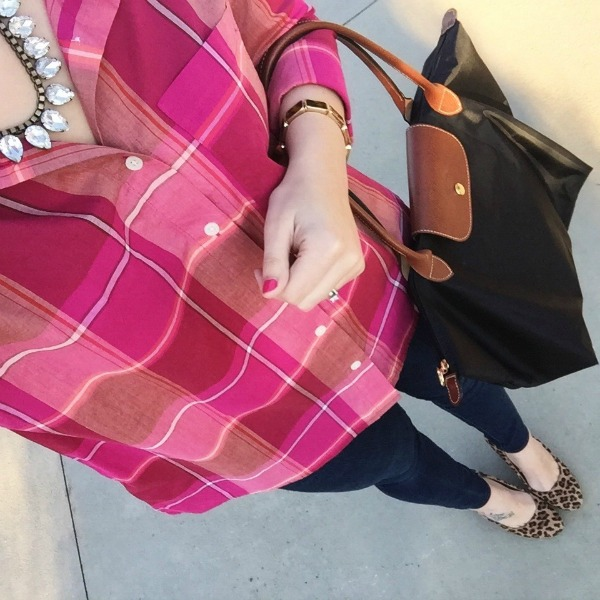 pattern mixing, loren hope, longchamp tote
