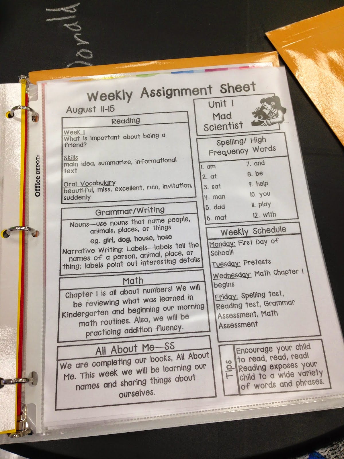 Pride And Primary First Grade Homework Packets And Oz Binder