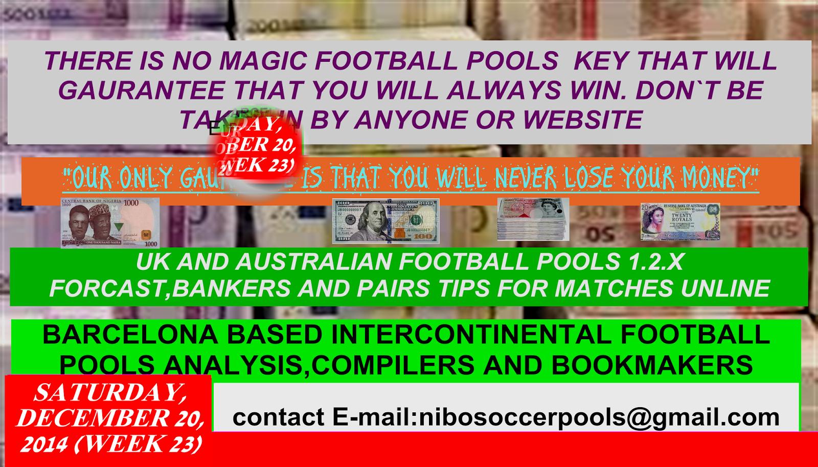 UK AND AUSTRALIAN FOOTBALL POOL 1 2 X EXPOSURE: 2014