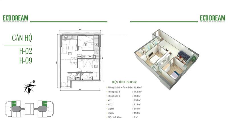 Thiết kế căn hộ 2PN, 74m2 chung cư Eco dream