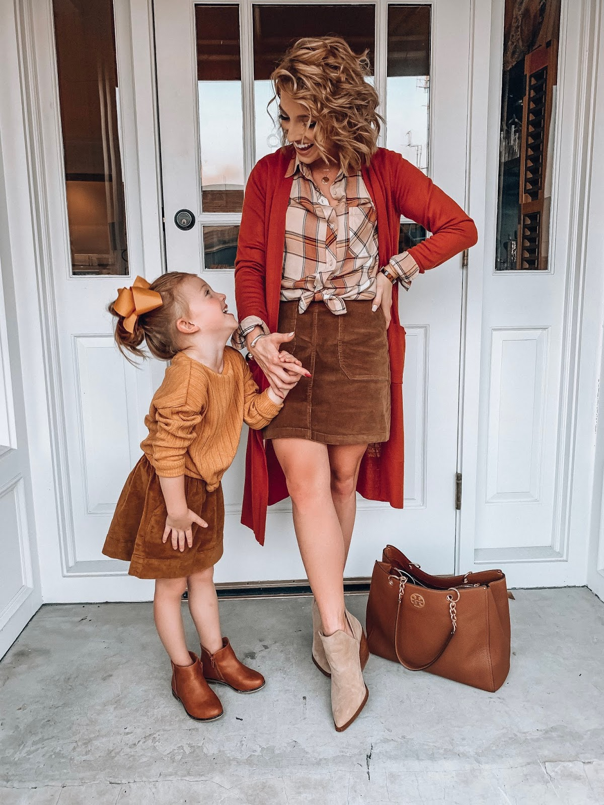 Mommy and me fall style - Brown Cord Skirts - The Perfect Plaid Button Down With Longline Cardigan (both under $30) & Cord Skirt - Something Delightful Blog #fallstyle #targetstyle #fallfashion #affordablestyle