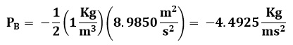 Cálculo de presión en el punto B del ejemplo 2