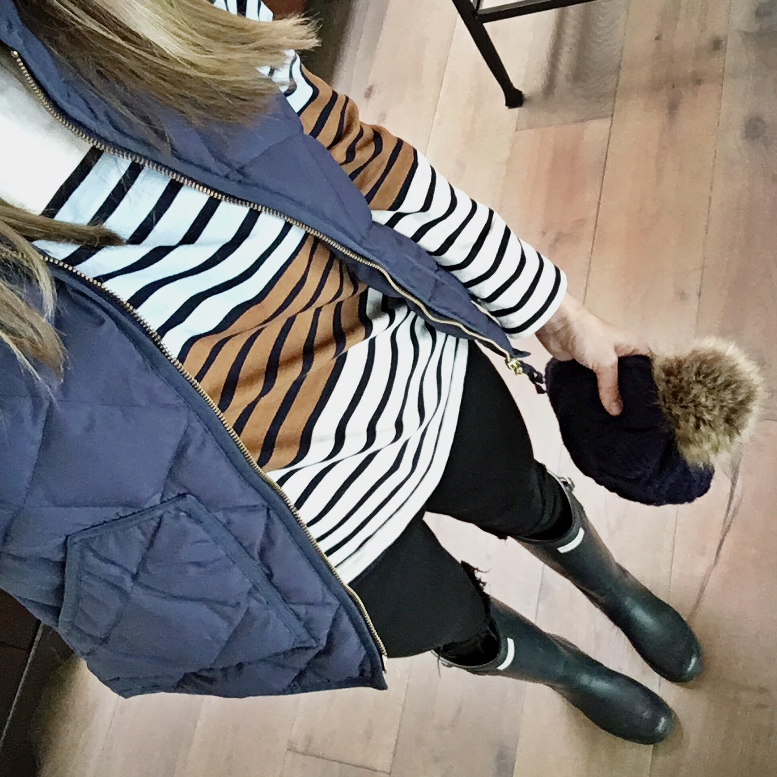 stripes and hunter boots