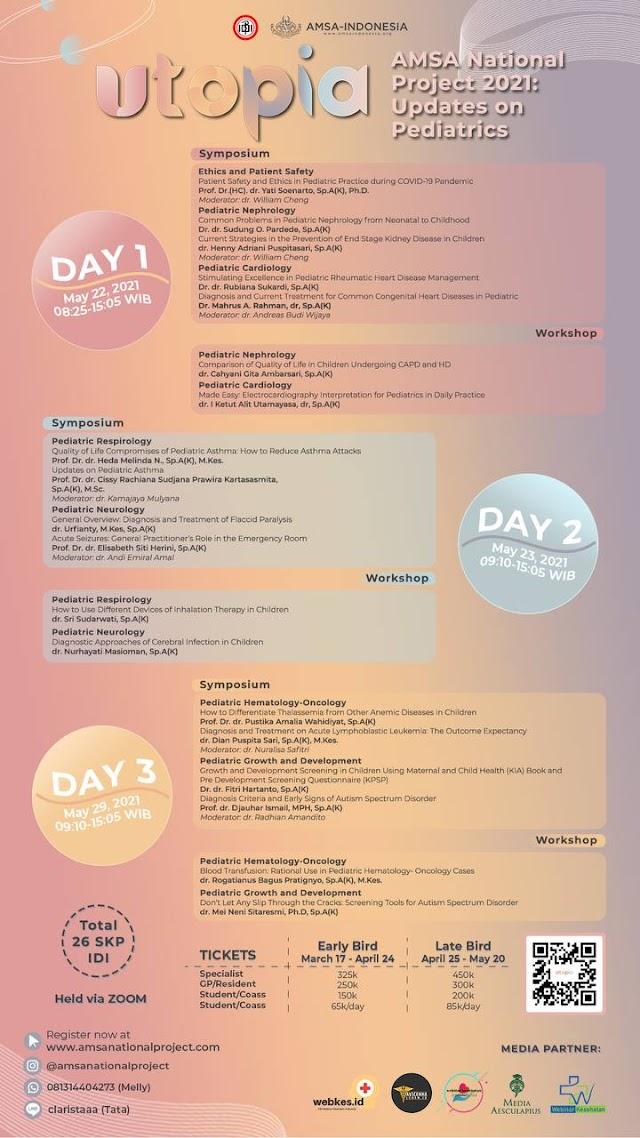 "Symposium and Workshop AMSA National Project 2021  ""UTOPIA: Updates on Pediatrics (Total 26 SKP IDI)"