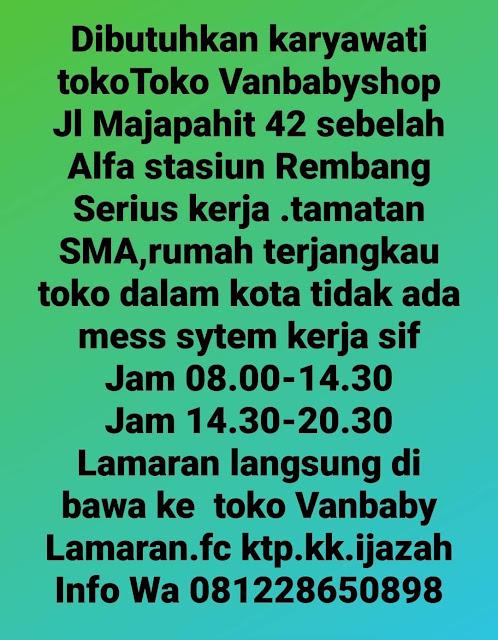 Lowongan Kerja Pegawai Van Baby Shop Rembang