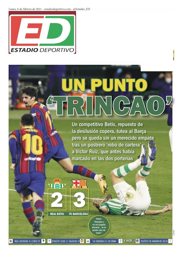 """Betis, Estadio Deportivo: """"Un punto Trincao"""""""