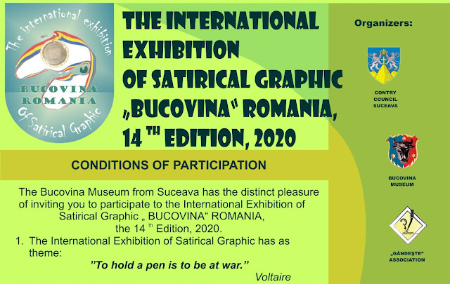 The 14th International Exhibition of Satirical Graphic, Bucovina 2020, Romania
