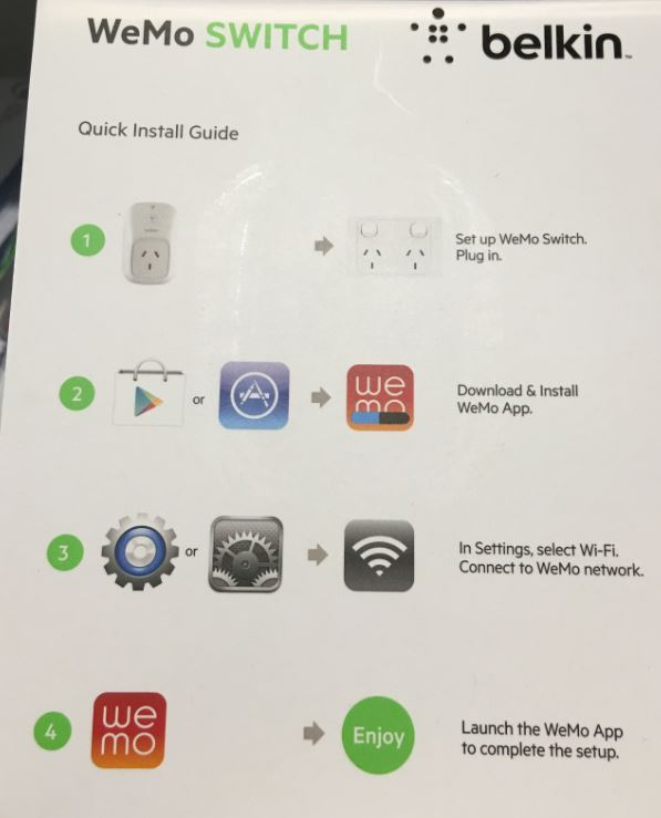 As Usual I Never Read The Install Guide And Plug It Straight Into A Power Outlet After Turning Wemo Switch On Then Realise That Needed To Download
