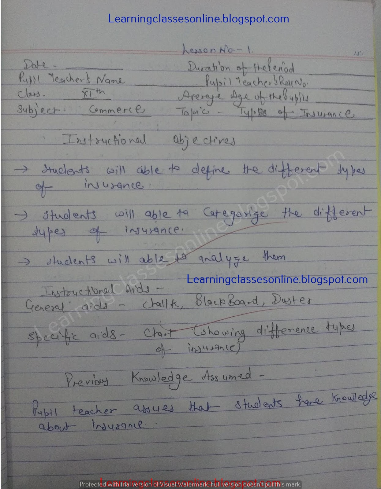 crsu, mdu, kuk cdlu b.ed ded deled btc commerce and business studies lesson plan in hindi for cbse, ncert school tachers
