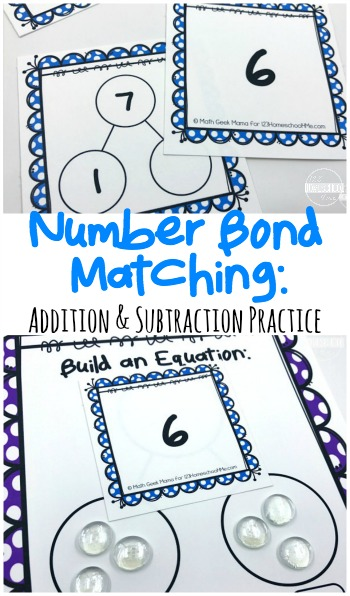 FREE Number Bonds Games - lots of different ways to play with these number bonds game to help first grade and 2nd grade students practice addition and subtraction with a hands on math game.