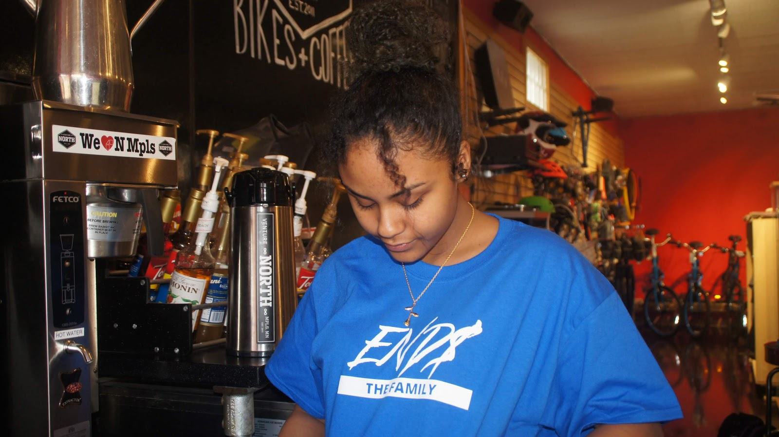 ENDS Photo Featuring END$ The Family Scripture Tshirt  | Model Jennifer DeCoteau at Venture Note