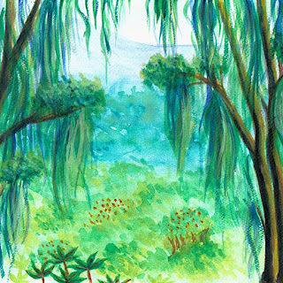 Rainforest watercolor painting