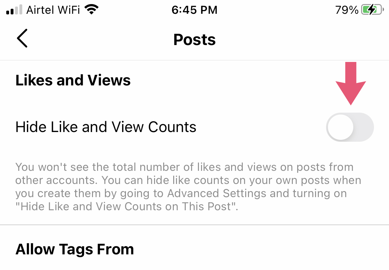 Instagram Post Like Count Hide