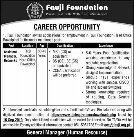 Career in fauji foundation last date 16 Sep 2019