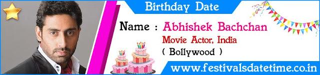 Abhishek Bachchan Birthday Date