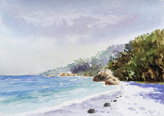 water colour painting of a seashore on Campap paper by Manju Panchal